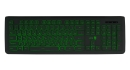 Клавиатура Jet.A SlimLine K20 LED проводная с классической раскладкой и зелёной светодиодной подсветкой, 105 клавиш, USB, чёрная
