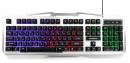 Клавиатура Гарнизон GK-500G игровая, металл, подсветка, USB, черный/серый, антифантомные клавиши